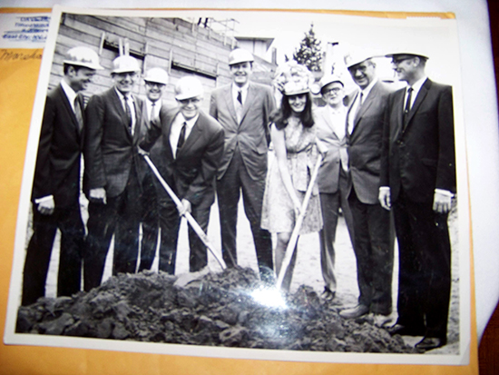 Historical photo of a ground-breaking, with Don Garrity in the center